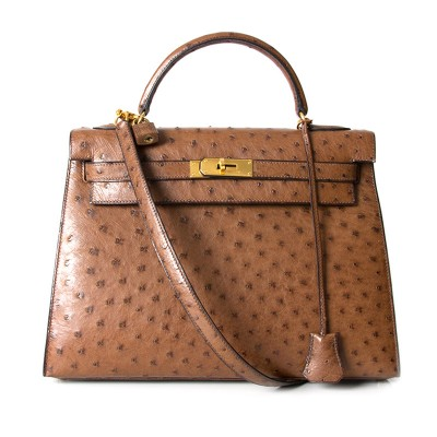 Hermes Kelly Bag Ostrich Leather Gold Hardware In Brown
