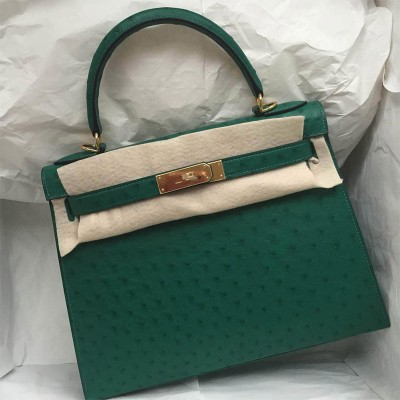 Hermes Kelly Bag Ostrich Leather Gold Hardware In Green