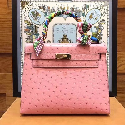 Hermes Kelly Bag Ostrich Leather Gold Hardware In Pink