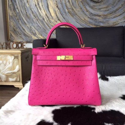 Hermes Kelly Bag Ostrich Leather Gold Hardware In Rose