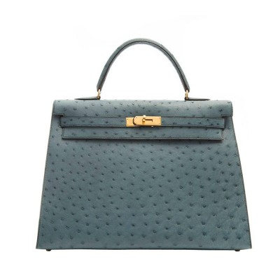 Hermes Kelly Bag Ostrich Leather Gold Hardware In Sky Blue
