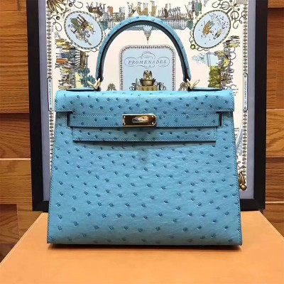 Hermes Kelly Bag Ostrich Leather Gold Hardware In Teal