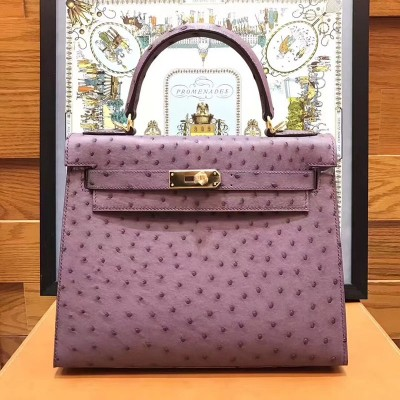 Hermes Kelly Bag Ostrich Leather Gold Hardware In Violet