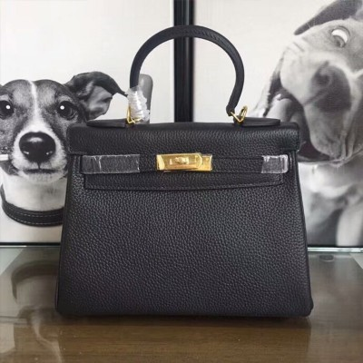 Hermes Kelly Bag Togo Leather Gold Hardware In Black
