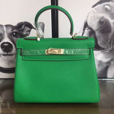 Hermes Kelly Bag Togo Leather Gold Hardware In Green