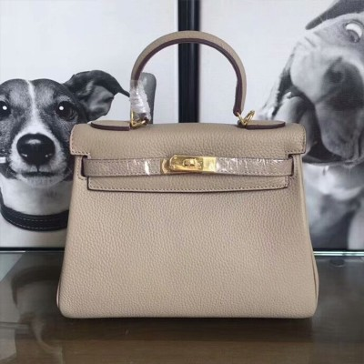 Hermes Kelly Bag Togo Leather Gold Hardware In Grey