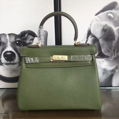 Hermes Kelly Bag Togo Leather Gold Hardware In Military Green