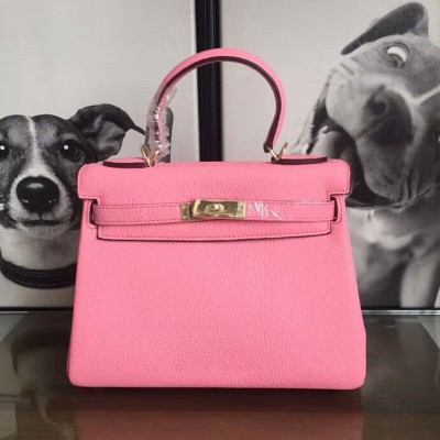 Hermes Kelly Bag Togo Leather Gold Hardware In Pink