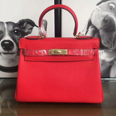 Hermes Kelly Bag Togo Leather Gold Hardware In Red