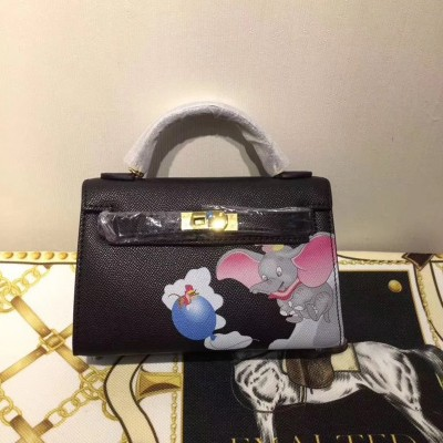 Hermes Kelly Mini Dumbo Bag Togo Leather Gold Hardware In Black