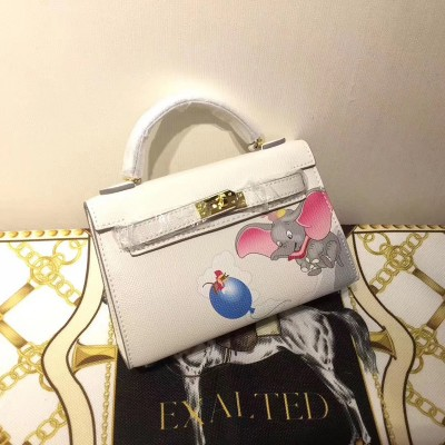 Hermes Kelly Mini Dumbo Bag Togo Leather Gold Hardware In White