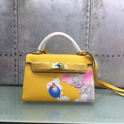 Hermes Kelly Mini Dumbo Bag Togo Leather Gold Hardware In Yellow