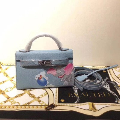 Hermes Kelly Mini Dumbo Bag Togo Leather Palladium Hardware In Blue