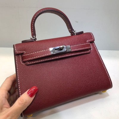 Hermes Kelly II Mini Bag Epsom Leather Palladium Hardware In Burgundy