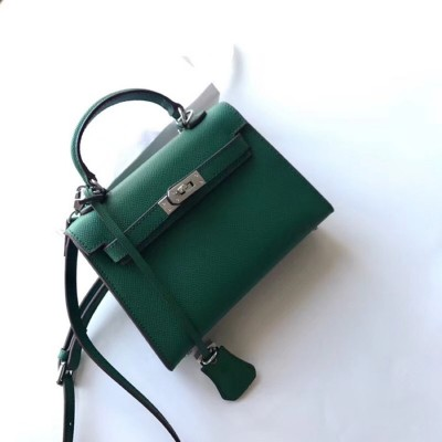 Hermes Kelly II Mini Bag Epsom Leather Palladium Hardware In Green