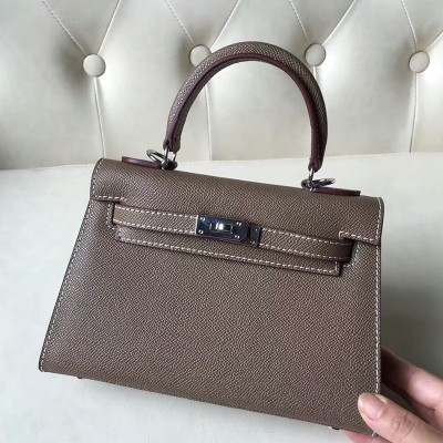 Hermes Kelly II Mini Bag Epsom Leather Palladium Hardware In Grey