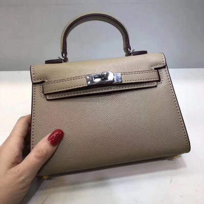 Hermes Kelly II Mini Bag Epsom Leather Palladium Hardware In Khaki