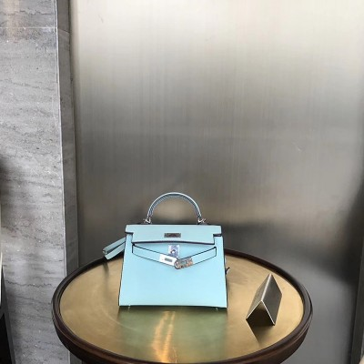 Hermes Kelly II Mini Bag Epsom Leather Palladium Hardware In Lake Blue