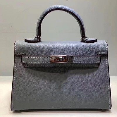 Hermes Kelly II Mini Bag Epsom Leather Palladium Hardware In Light Grey