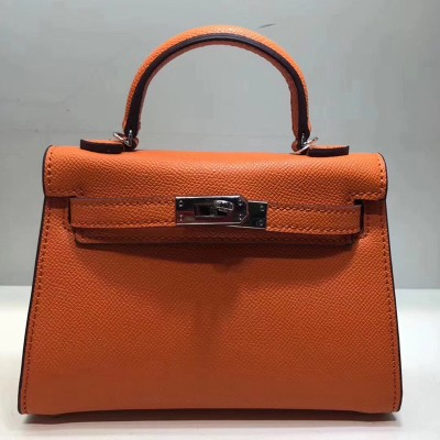 Hermes Kelly II Mini Bag Epsom Leather Palladium Hardware In Orange