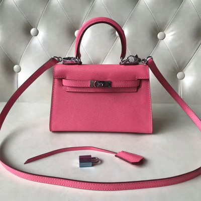 Hermes Kelly II Mini Bag Epsom Leather Palladium Hardware In Rose