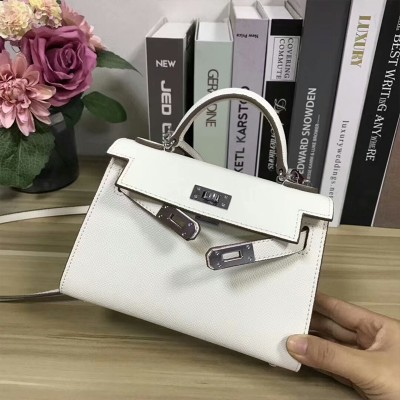 Hermes Kelly II Mini Bag Epsom Leather Palladium Hardware In White