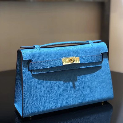 Hermes Kelly Mini Pochette Bag Epsom Leather Gold Hardware In Blue