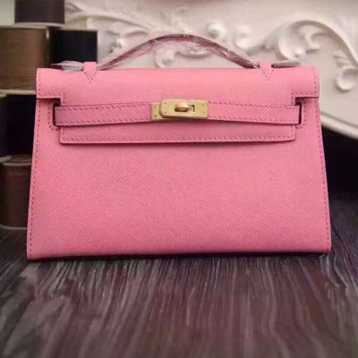 Hermes Kelly Mini Pochette Bag Epsom Leather Gold Hardware In Cherry