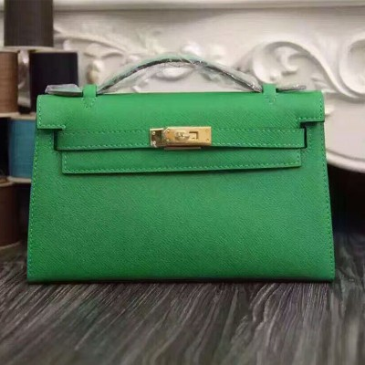 Hermes Kelly Mini Pochette Bag Epsom Leather Gold Hardware In Green