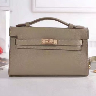 Hermes Kelly Mini Pochette Bag Epsom Leather Gold Hardware In Grey