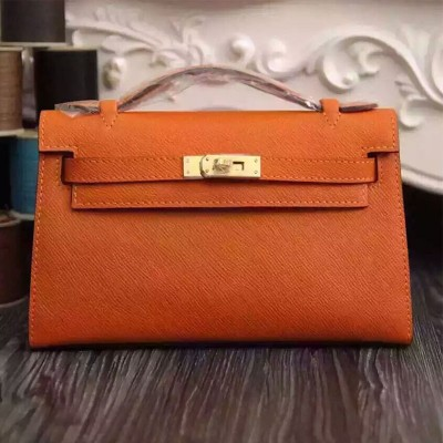 Hermes Kelly Mini Pochette Bag Epsom Leather Gold Hardware In Orange