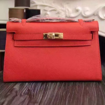 Hermes Kelly Mini Pochette Bag Epsom Leather Gold Hardware In Red