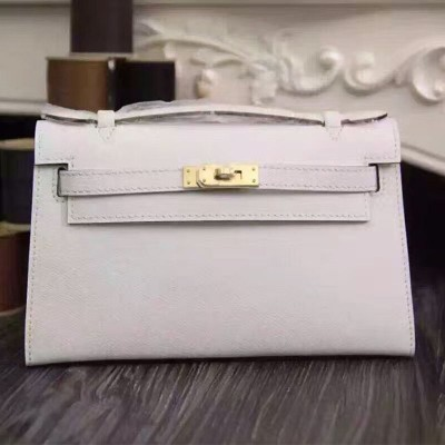 Hermes Kelly Mini Pochette Bag Epsom Leather Gold Hardware In White