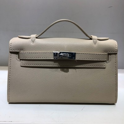 Hermes Kelly Mini Pochette Bag Epsom Leather Palladium Hardware In Apricot