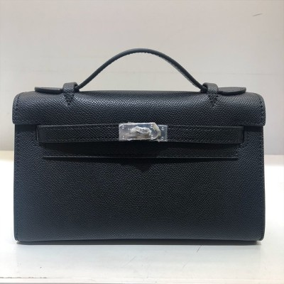 Hermes Kelly Mini Pochette Bag Epsom Leather Palladium Hardware In Black