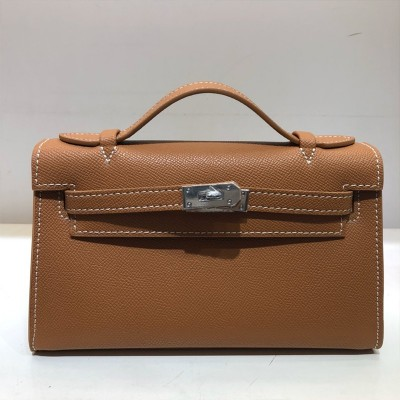 Hermes Kelly Mini Pochette Bag Epsom Leather Palladium Hardware In Brown