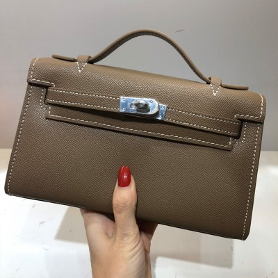 Hermes Kelly Mini Pochette Bag Epsom Leather Palladium Hardware In Coffee