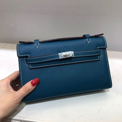 Hermes Kelly Mini Pochette Bag Epsom Leather Palladium Hardware In Navy Blue