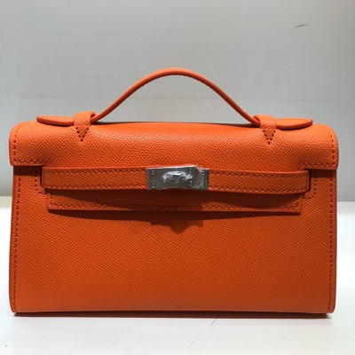 Hermes Kelly Mini Pochette Bag Epsom Leather Palladium Hardware In Orange