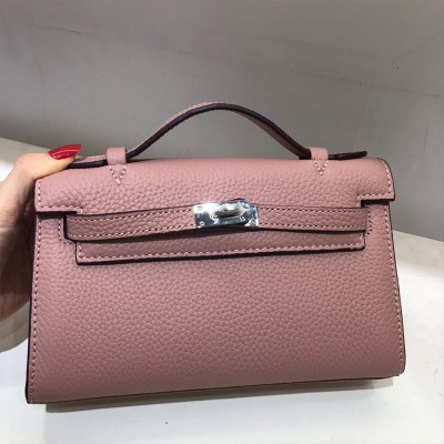 Hermes Kelly Mini Pochette Bag Epsom Leather Palladium Hardware In Pink