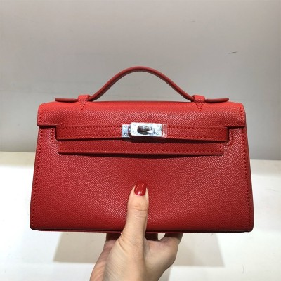 Hermes Kelly Mini Pochette Bag Epsom Leather Palladium Hardware In Red