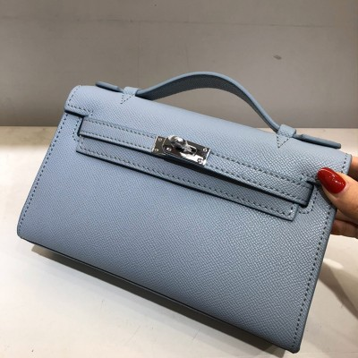Hermes Kelly Mini Pochette Bag Epsom Leather Palladium Hardware In Sky Blue