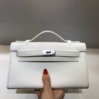 Hermes Kelly Mini Pochette Bag Epsom Leather Palladium Hardware In White