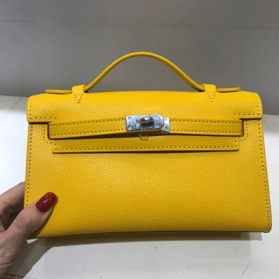 Hermes Kelly Mini Pochette Bag Epsom Leather Palladium Hardware In Yellow
