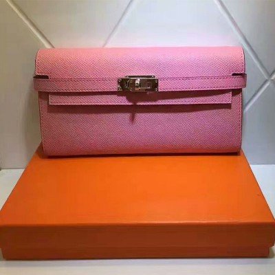 Hermes Kelly Wallet Epsom Leather Gold Hardware In Pink