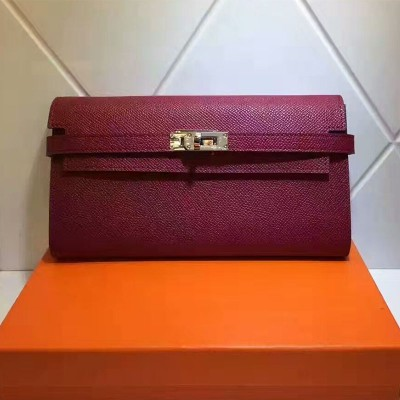 Hermes Kelly Wallet Epsom Leather Gold Hardware In Red