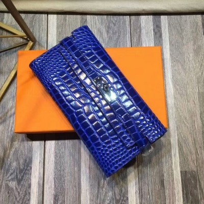 Hermes Kelly Wallet Alligator Leather Palladium Hardware In Blue