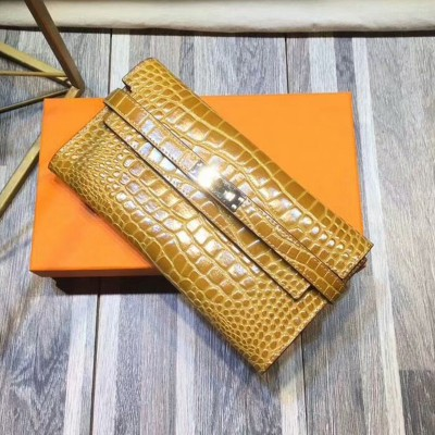 Hermes Kelly Wallet Alligator Leather Palladium Hardware In Brown