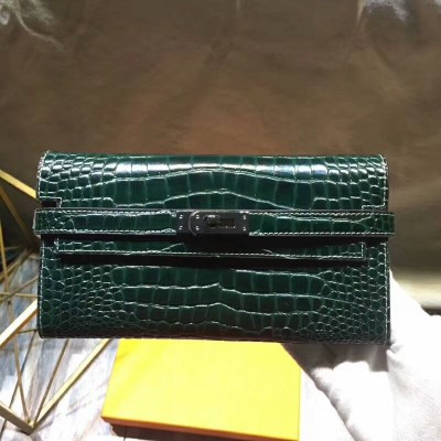 Hermes Kelly Wallet Alligator Leather Palladium Hardware In Green