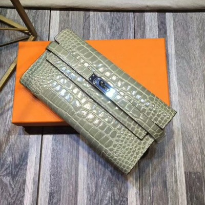 Hermes Kelly Wallet Alligator Leather Palladium Hardware In Grey